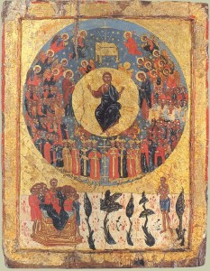 Greek icon of Second Coming, c.1700 (Wikipedia)